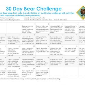 30 Day Challenge calendar for Bear Cub Scouts