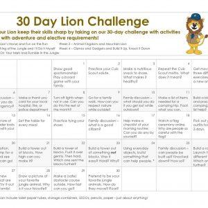 30 Day Challenge calendar for Lion Cub Scouts