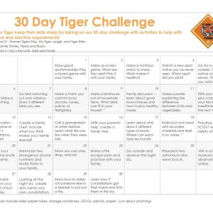 30 Day Challenge Calendar for Tiger Cub Scouts