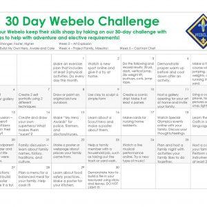 30 Day Challenge Calendar for WEBELOS