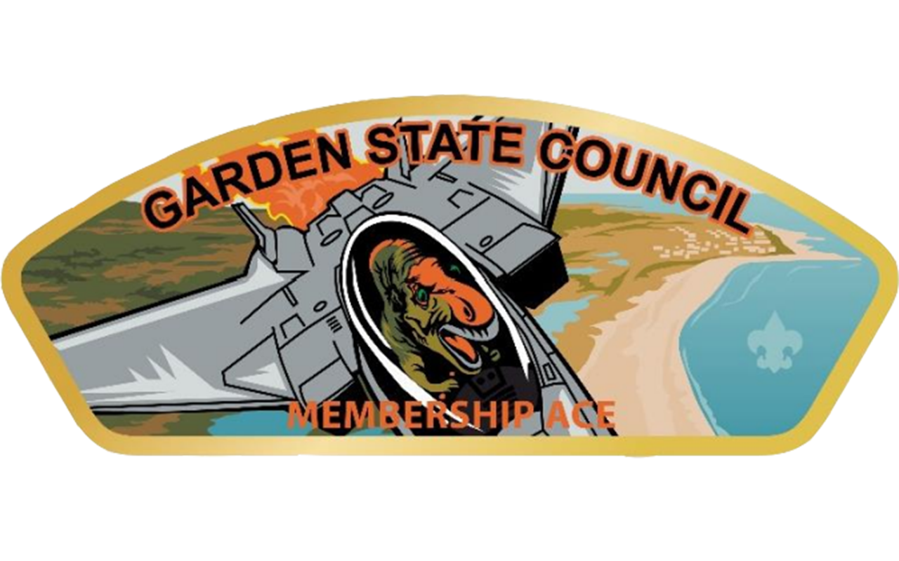 Council shoulder patch featuring a hadrosaurus flying a jet plane over the pine barrens
