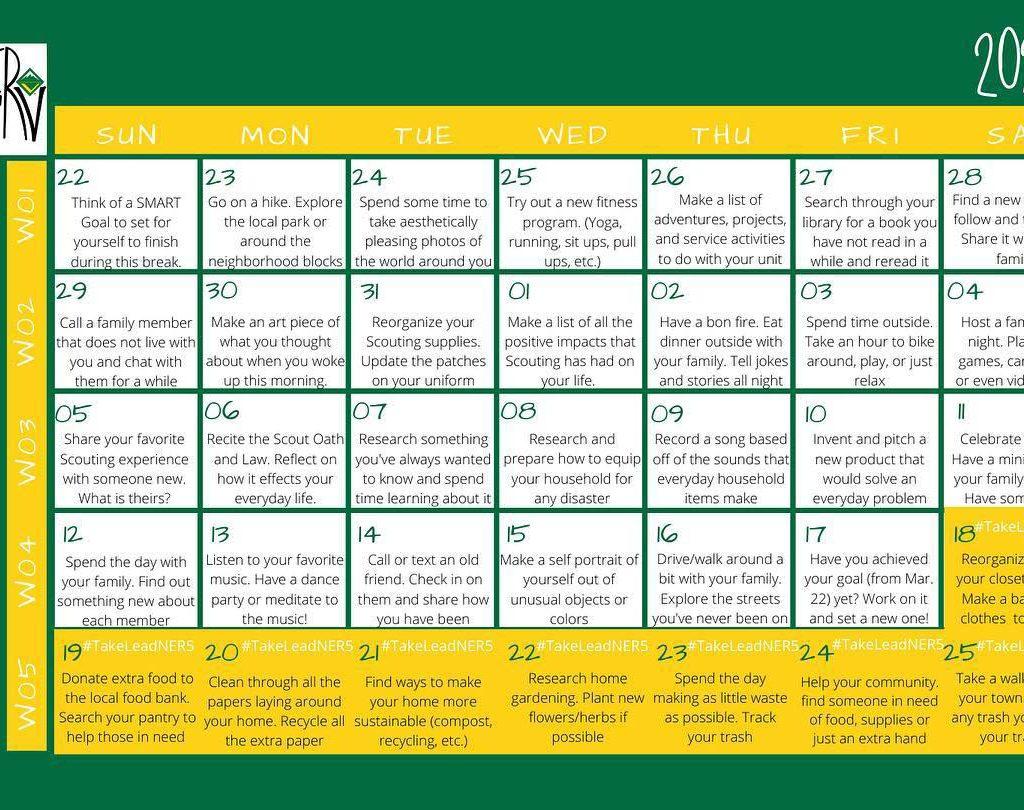 Venturing 30-day challenge calendar from Northeast Region Area 5